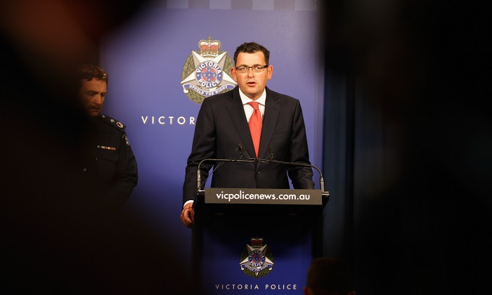 A file image of Victoria's state premier, Daniel Andrews during a press conference in Melbourne. A former Victorian police commissioner has accused the Andrews government of doing too little, too late in responding to a recent spate of crime committed by South Sudanese youth. (Darrian Traynor/Getty Images)