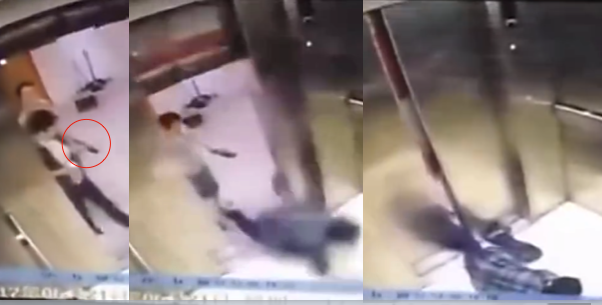 A horrible elevator accident befell a woman in Shanghai, China, in June 2017. Footage has just recently been released and published in a Chinese news service. (Screenshots via iQIYI)