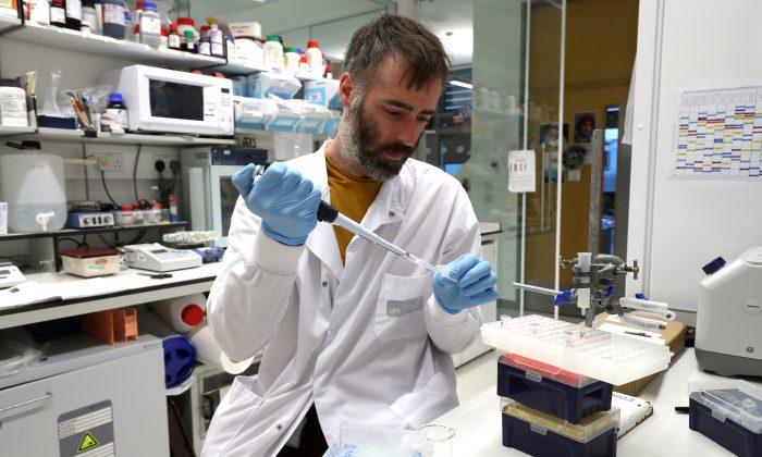 Dr Chris Millington, an investigator scientist, works in the lab at MRC Laboratory of Molecular Biology in Cambridge, Britain Jan. 2, 2018. (Reuters/Chris Radburn)