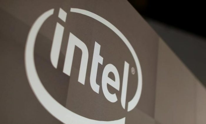 The Intel logo is shown at the E3 2017 Electronic Entertainment Expo in Los Angeles, California, U.S. June 13, 2017.  (Reuters/ Mike Blake)