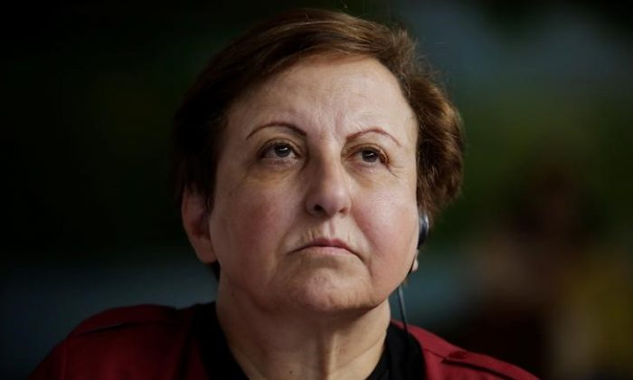 Nobel Peace Prize winner Shirin Ebadi of Iran looks on during a news conference against mining in the town of Casillas, Guatemala, Oct. 26, 2017. (Reuters/Luis Echeverria)