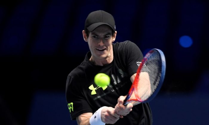 Great Britain's Andy Murray during practice at the O2 Arena, London on Nov. 11, 2017. (Action Images via Reuters/Tony O'Brien)