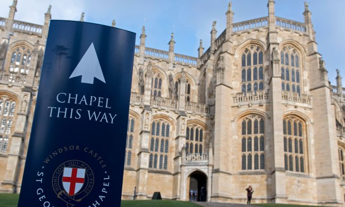 A sign outside St George's Chapel inside the grounds of Windsor Castle, west of London on Dec. 8, 2017.