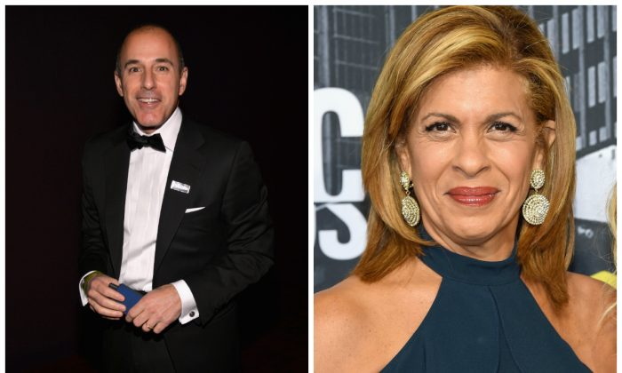 Matt Lauer and Hota Kotb in file photos. (Larry Busacca/Getty Images for TIME; Michael Loccisano/Getty Images For CMT)