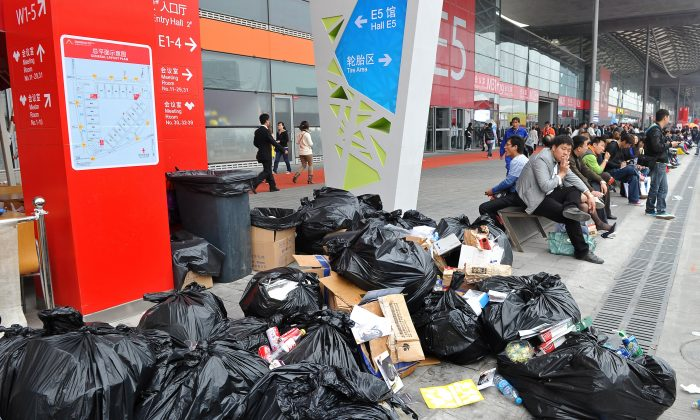 Rubbish bags near the Shanghai Auto Show in Shanghai on April 21, 2011. (Philippe Lopez/AFP/Getty Images)