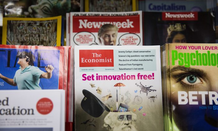 A copy of The Economist magazine on a news stand in London on Aug. 12, 2015. (JACK TAYLOR/AFP/Getty Images)