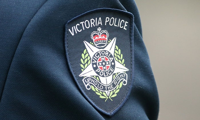 Victoria police logo photographed in Melbourne, Australia on March 24, 2016.(Scott Barbour/Getty Images)