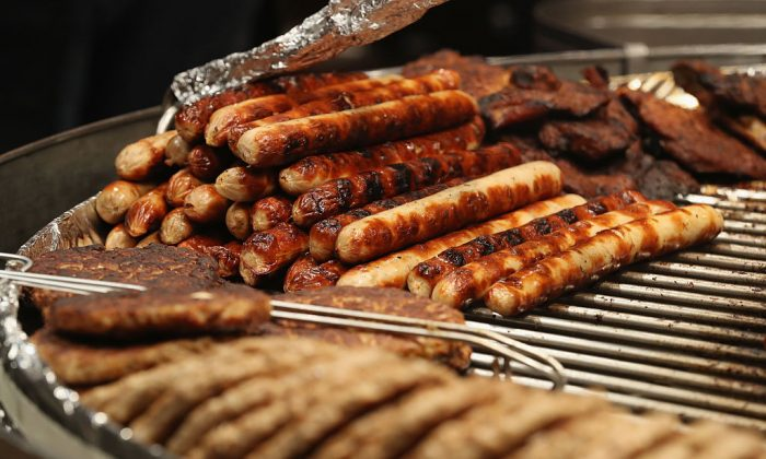 Sausage is seen in this file photo. An Oregon man threw poisoned sausage to dogs, a judge said this week. He was sentenced to probation. (Photo by Sean Gallup/Getty Images)