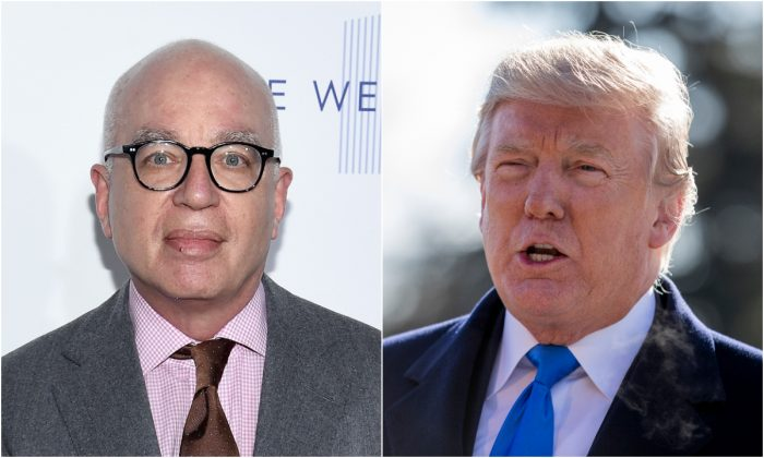 (L) Columnist Michael Wolff in New York City on April 13, 2017. (Dimitrios Kambouris/Getty Images for The Hollywood Reporter); President Donald Trump on the South Lawn of the White House in Washington on Jan. 5, 2018. (Samira Bouaou/The Epoch Times)