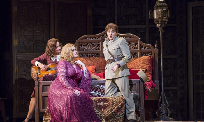 "(L–R) Christiane Karg as Susanna, Rachel Willis-Sorensen as the Countess, and Serena Malfi as Cherubino in Mozart's ""Le Nozze di Figaro."" (Chris Lee/Metropolitan Opera)"