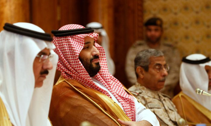Saudi Arabia's Deputy Crown Prince and Defense Minister Mohammed bin Salman (2nd L) takes his seat to meet with U.S. Defense Secretary James Mattis and his delegation on April 19, 2017 in Riyadh, Saudi Arabia. (Jonathan Ernst-Pool/Getty Images)