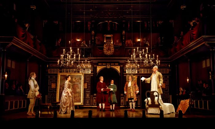 "The cast of ""Farinelli and the King"": (L–R) Sam Crane, Melody Grove, Lucas Hall, Huss Garbiya, Edward Peel, and Mark Rylance. The evocative set is by Jonathan Fensom. (Joan Marcus)"