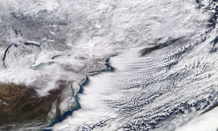 A winter storm sweeping across Ontario, eastern Canada and the northeastern United States is pictured in a NASA handout satellite photo Jan. 6, 2018. (NASA/Handout via Reuters)