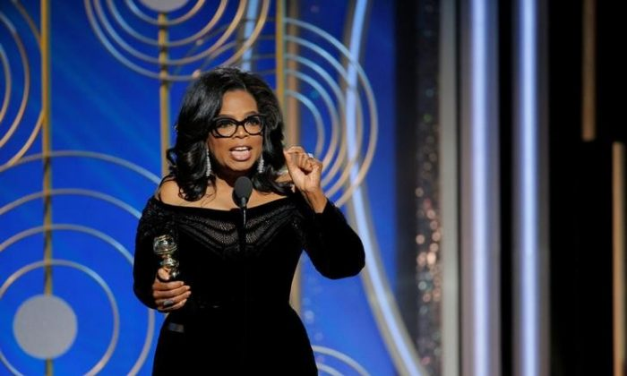 Oprah Winfrey speaks after accepting the Cecil B. Demille Award at the 75th Golden Globe Awards in Beverly Hills, California, U.S. Jan. 7, 2018. (Paul Drinkwater/Courtesy of NBC/Handout via Reuters)