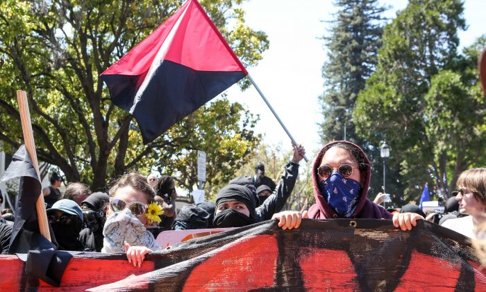 Antifa members and counter protesters gather during a right wing No-To-Marxism rally at Martin Luther King Jr. Park in Berkeley, Calif., on Aug. 27, 2017. (AMY OSBORNE/AFP/Getty Images)