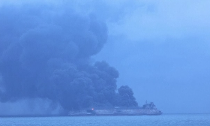 A tanker carrying Iranian oil collided with a Chinese vessel and burst into flames on Sunday, Jan. 7 in the East China Sea. (South Korea Coastguard/Reuters)