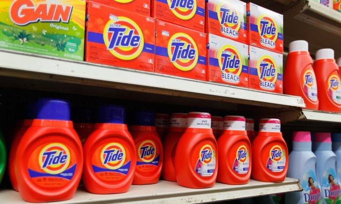 Tide laundry detergent is seen on a store shelf in Miami, Florida on March 13, 2012. (Joe Raedle/Getty Images)
