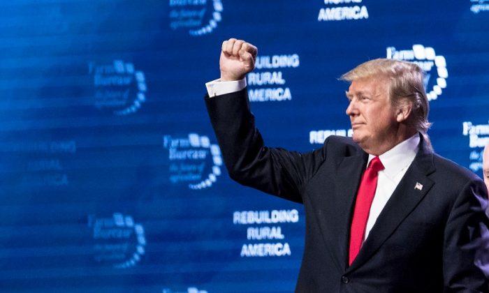 President Donald Trump at the 99th annual American Farm Bureau Convention in Nashville, Tenn., on Jan. 8, 2018.(Samira Bouaou/The Epoch Times)