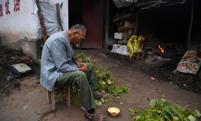 A man preparing beans outside his house in a village near the Yellow River in Lankao County, Henan Province, on Sept. 28, 2017. (Greg Baker/AFP/Getty Images)