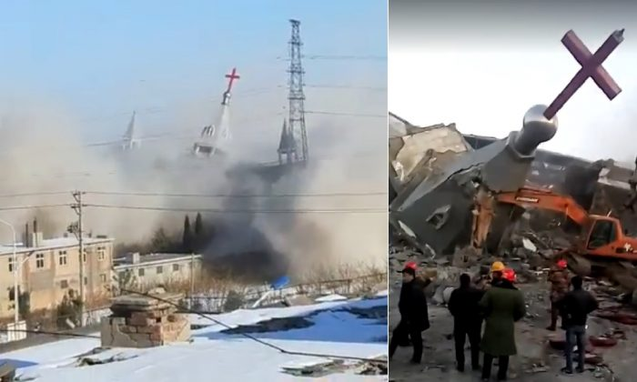 Screenshots from videos uploaded by ChinaAid show the destruction of Golden Lampstand Church in the city of Linfen in China's Shanxi province on Tuesday, Jan. 9, 2018. China's People's Armed Police reportedly used explosives to demolish the church as part of the latest crackdown on Chinese Christians. (ChinaAid)