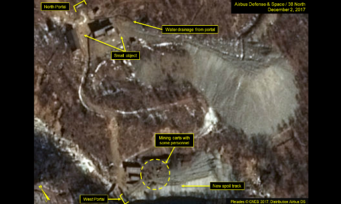 A Dec. 2, 2017 satellite of part of the Punggyeri nuclear test site in North Korea revealed no notable changes at the North Portal but shows a significant expansion of the spoil pile at the West Portal. (Airbus Defense & Space/38 North, Pleiades CNES, 2017)