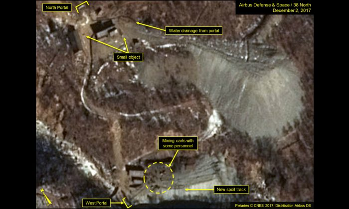 A Dec. 2, 2017 satellite view of part of the Punggye-ri Nuclear Test Site in North Korea reveals no notable changes at the North Portal but shows a significant expansion of the spoil pile at the West Portal. (Airbus Defense & Space/38 North, Pleiades CNES, 2017)