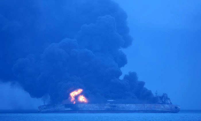 The Panama-registered Sanchi tanker ablaze in open waters, after colliding with a Chinese bulk ship. (Korea Coast Guard/Yonhap via REUTERS)