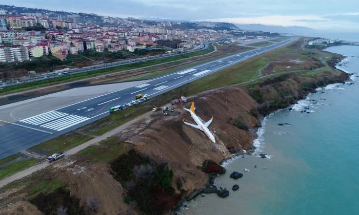A Pegasus Airlines aircraft is pictured after it skidded off the runway at Trabzon airport by the Black Sea in Trabzon, Turkey, on Jan. 14, 2018. (Ihlas News Agency via REUTERS)