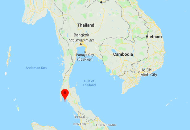 Google Maps screenshot showing the location of Phi Phi Le island in the southern Thailand province of Krabi, where a tourist speedboat carrying 31 passengers exploded  on Sunday 14 Jan, 2018. (Google Maps)