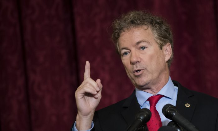 Sen. Rand Paul (R-KY) speaks during a press conference regarding the executive order President Donald Trump signed earlier on Thursday, on Capitol Hill in Washington, DC, on Oct. 12, 2017. (Drew Angerer/Getty Images)
