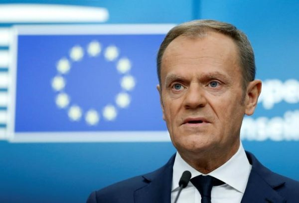 Donald Tusk addresses a news conference
