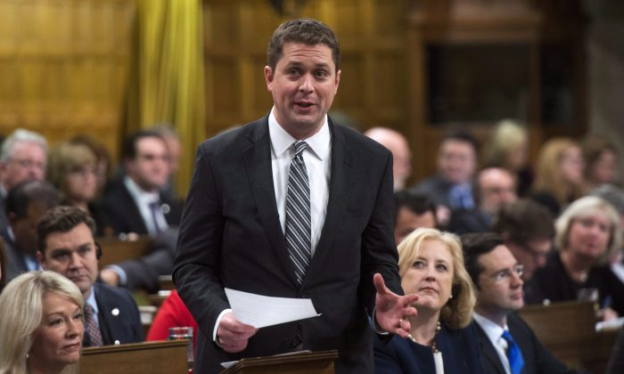 Conservative Leader Andrew Scheer responds to a question in the House of Commons on Parliament Hill in Ottawa on Dec. 12, 2017. (The Canadian Press/Sean Kilpatrick)