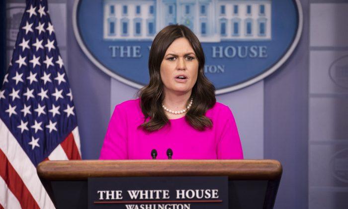 White House Press Secretary Sarah Huckabee Sanders at the White House press briefing in Washington on Jan. 16, 2018. (Samira Bouaou/The Epoch Times)