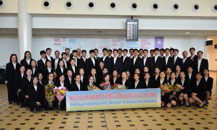 Shen Yun International Company's arrival at Brisbane Airport on Jan. 17, 2018. (Jenny Lai/NTD Television)