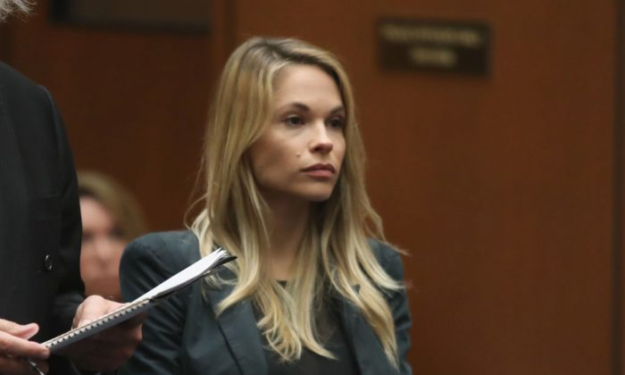 Model Dani Mathers stands during court proceedings for a hearing at Clara Shortridge Foltz Criminal Justice Center in Los Angeles on May 24, 2017. (Photo by Frederick M. Brown/Getty Images)