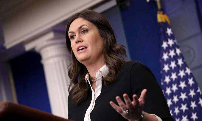 White House Press Secretary Sarah Huckabee Sanders answers questions during the daily briefing at the White House in Washington, DC on Jan. 17, 2018. Sanders fielded a range of questions relating to pending immigration legislation and continued funding of the federal government. (Win McNamee/Getty Images)