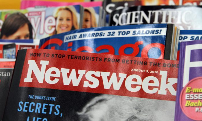 Newsweek magazine is shown on a newsstand on Aug. 2, 2010 in Chicago, Illinois. (John Gress/Getty Images)