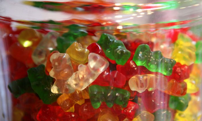 Gummi Bears are displayed in a glass jar in San Francisco, California on April 3, 2009. Candy with marijuana in it has been handed out by mistake to fifth-grade children. (Justin Sullivan/Getty Images)