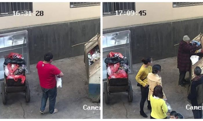 CCTV footage of an baby being left in a dumpter by her father, followed by a elderly Good Samaritan retrieving her. (Xuanwei Police Station/Weibo)