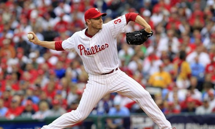 Roy Halladay No. 34 of the Philadelphia Phillies delivers in Game 1 of the NLDS against the Cincinnati Reds at Citizens Bank Park on Oct. 6, 2010, in Philadelphia, Pa.  (Chris Trotman/Getty Images)