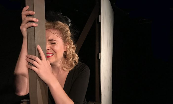 """Playwright, actress, and singer Joanne Hartstone as Evie Edwards, in """"The Girl Who Jumped Off the Hollywood Sign."""" (Peter Hall & Vince Fusco)"""