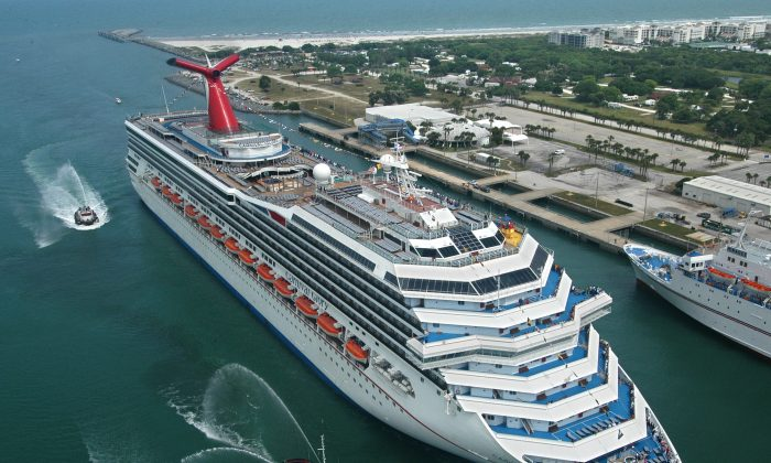 The Carnival Glory, one of Carnival Cruise Lines' ships, arrives in Cape Canaveral, Fla., Friday, July 11, 2003. (Andy Newman/Carnival Cruise Lines/HO