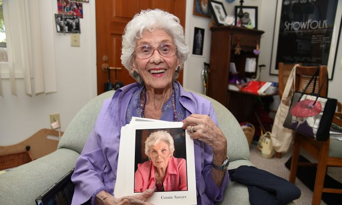 Working actress Connie Sawyer, 103, displays some of her headshots during an interview with AFP at her home in the retirement community of the Motion Picture Television Fund (MPTF), May 16, 2016 in Woodland Hills, California, about 22 miles west of Hollywood. (ROBYN BECK/AFP/Getty Images)