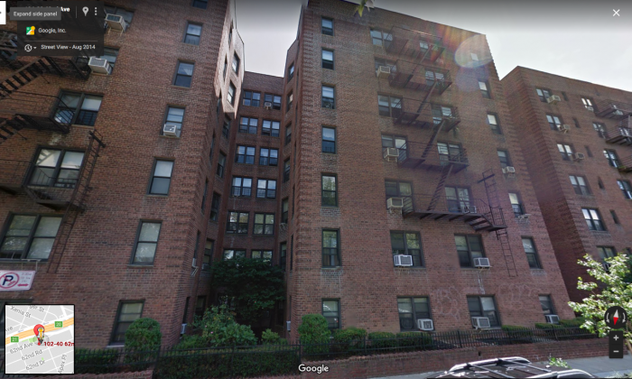 The apartment building in Forest Hills, New York, where an elderly woman and her son were found dead by police on Jan. 21, 2018. (Screenshot via Google Maps)