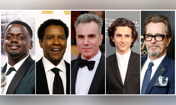 Nominees for the 90th Oscars, Leading Actor Awards (L-R) Daniel Kaluuya, Denzel Washington, Daniel Day-Lewis, Timothee Chalamet and Gary Oldman. (REUTERS/Staff/File Photos)