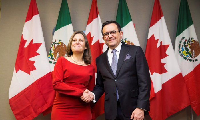 Foreign Affairs Minister Chrystia Freeland with Mexico's Secretary of Economy Ildefonso Guajardo Villarreal a bilateral meeting in Toronto on Jan. 22, 2018. (The Canadian Press/Michelle Siu)