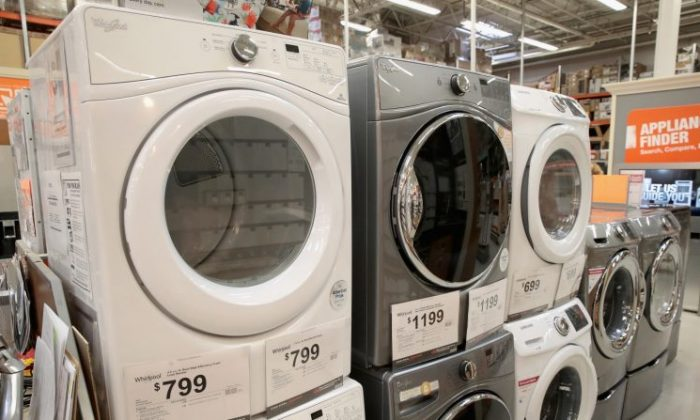Whirlpool appliances are offered for sale alongside other brands at a Home Depot store on Oct. 24, 2017 in Chicago, Illinois. (Scott Olson/Getty Images)