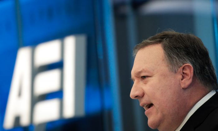 Director of the Central Intelligence Agency (CIA) Mike Pompeo speaks at the American Enterprise Institute, Jan. 23, 2018 in Washington. (Drew Angerer/Getty Images)