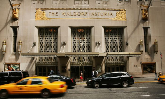 New York's landmark Waldorf Astoria Hotel, pictured on June 27, 2016. The Chinese government took over Waldorf-Astoria Hotel in Feb. 2018 when it seized control of the assets of China's Anbang Insurance Group. (Spencer Platt/Getty Images)