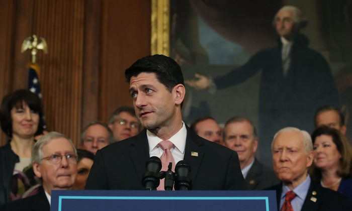 U.S. House Speaker Paul Ryan speaks after the Tax Cuts and Jobs Act was passed on Dec. 21, 2017, in Washington, D.C. (Mark Wilson/Getty Images)